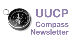"""""""UUCP Compass Newletter"""" beside greyscale image of compass"""