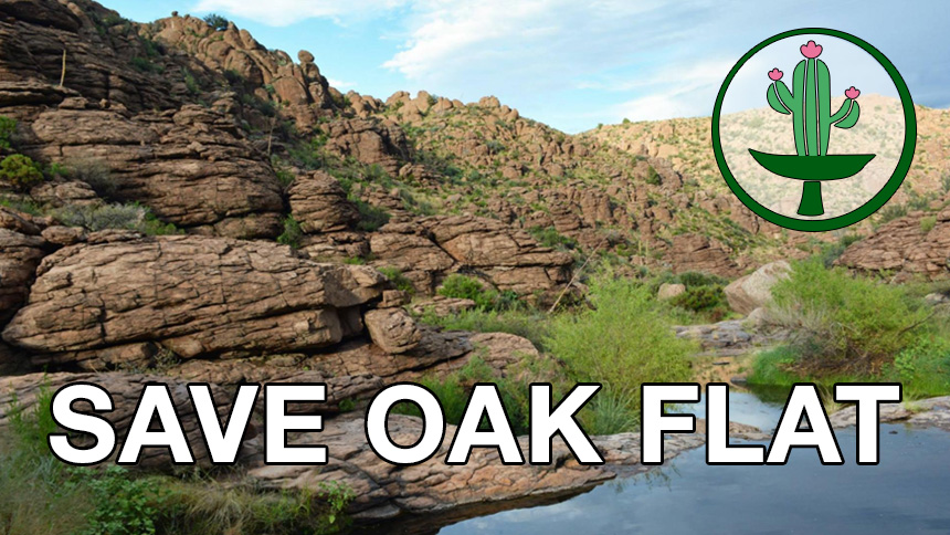 SAVE OAK FLAT overlaid on photo of mountain and river