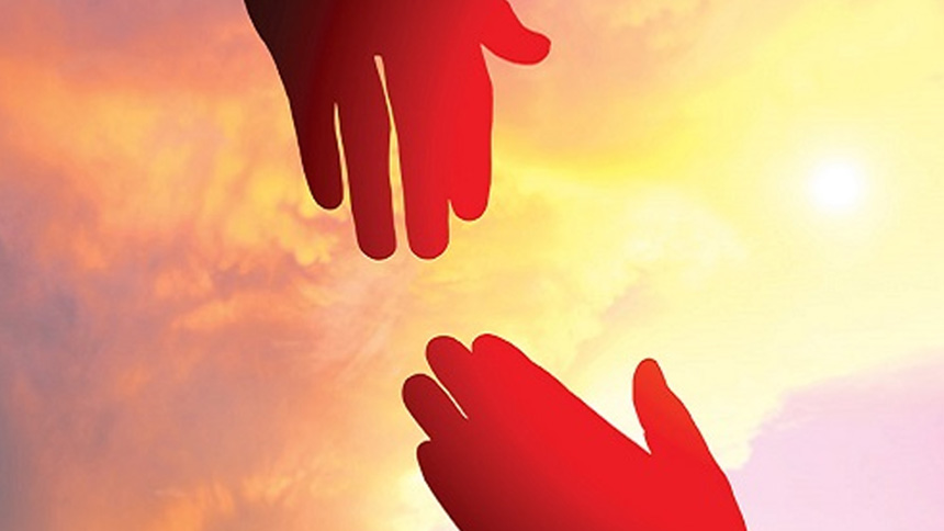 2 hands reaching toward each other against a red/orange cloudy sky