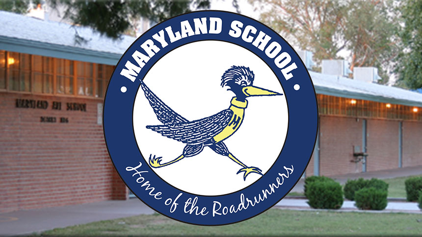 Maryland School logo over photo of outside of building