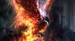 Painting of a flaming Phoenix poised to strike