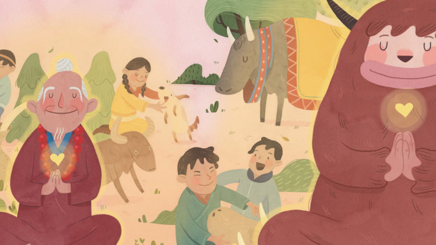 Drawing of people & animals in a forest setting