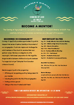 Screenshot of Coming of Age 2021-2022 Mentors poster